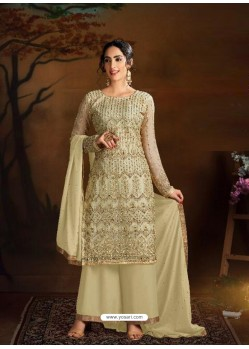 Light Yellow Dazzling Designer Embroidered Butterfly Net Palazzo Salwar Suit