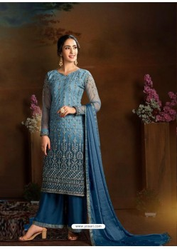 Blue Dazzling Designer Embroidered Butterfly Net Palazzo Salwar Suit