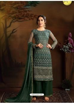 Dark Green Dazzling Designer Embroidered Butterfly Net Palazzo Salwar Suit
