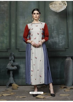Multi Colour Designer Embroidered Party Wear Heavy Fancy Rayon Kurti