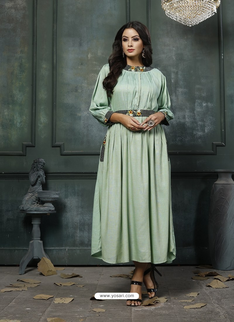 Sea Green Designer Embroidered Party Wear Heavy Fancy Rayon Kurti