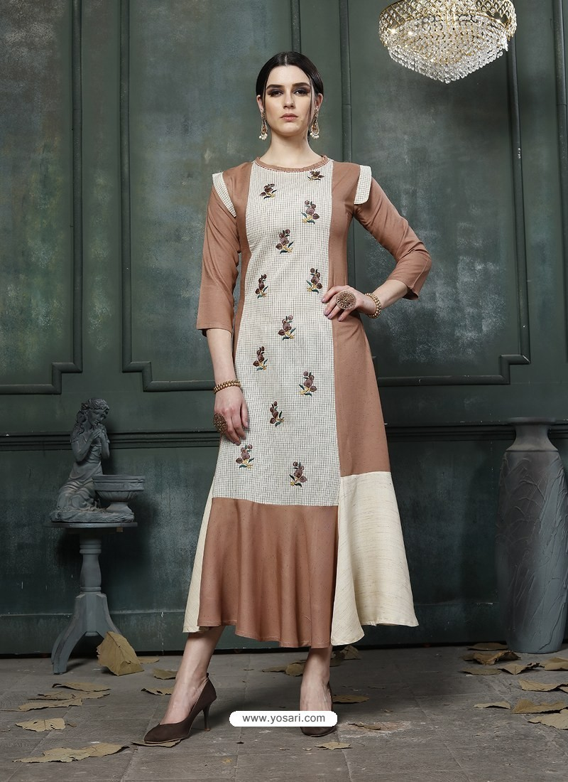 Camel Designer Embroidered Party Wear Heavy Fancy Rayon Kurti