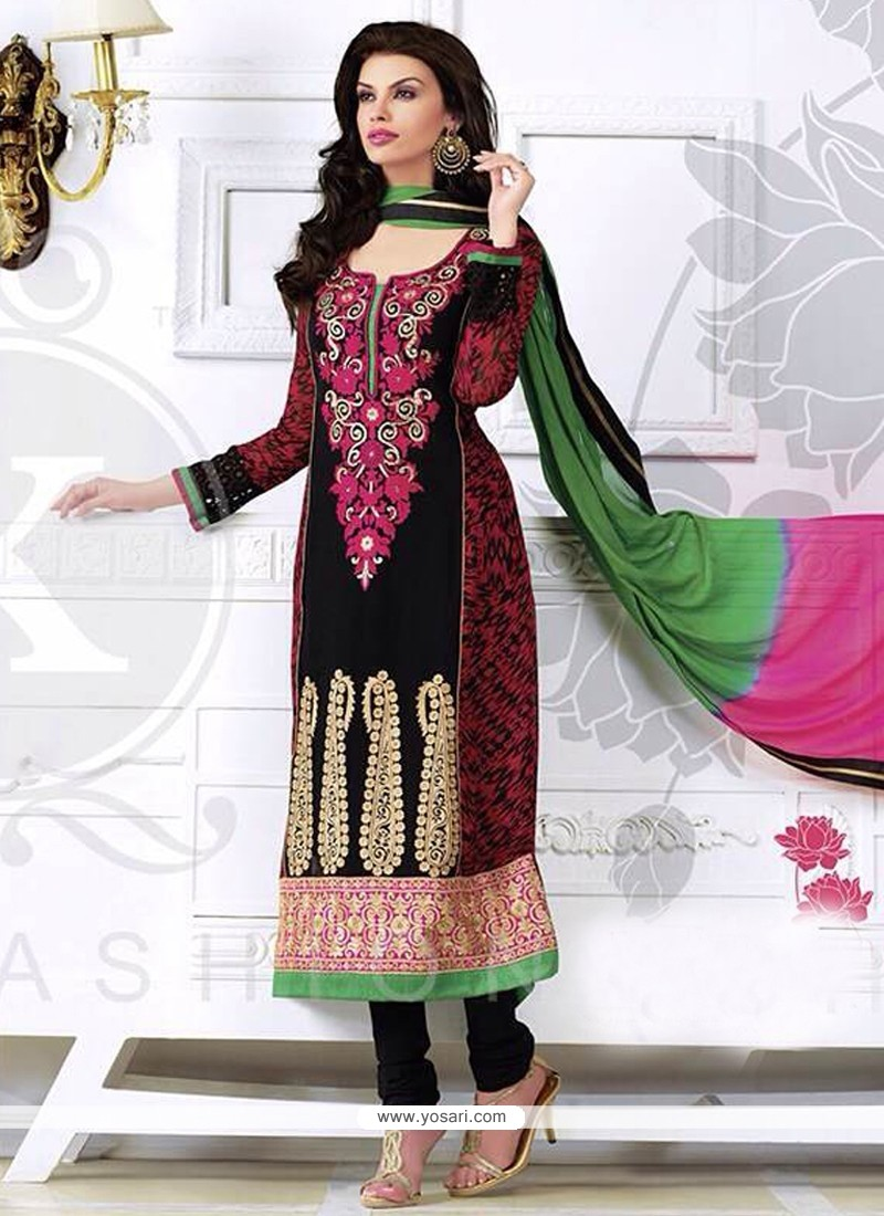 Perfect Black Zari Churidar Salwar Suit
