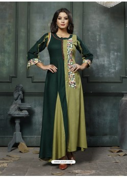 Dark Green Designer Embroidered Party Wear Heavy Fancy Rayon Kurti