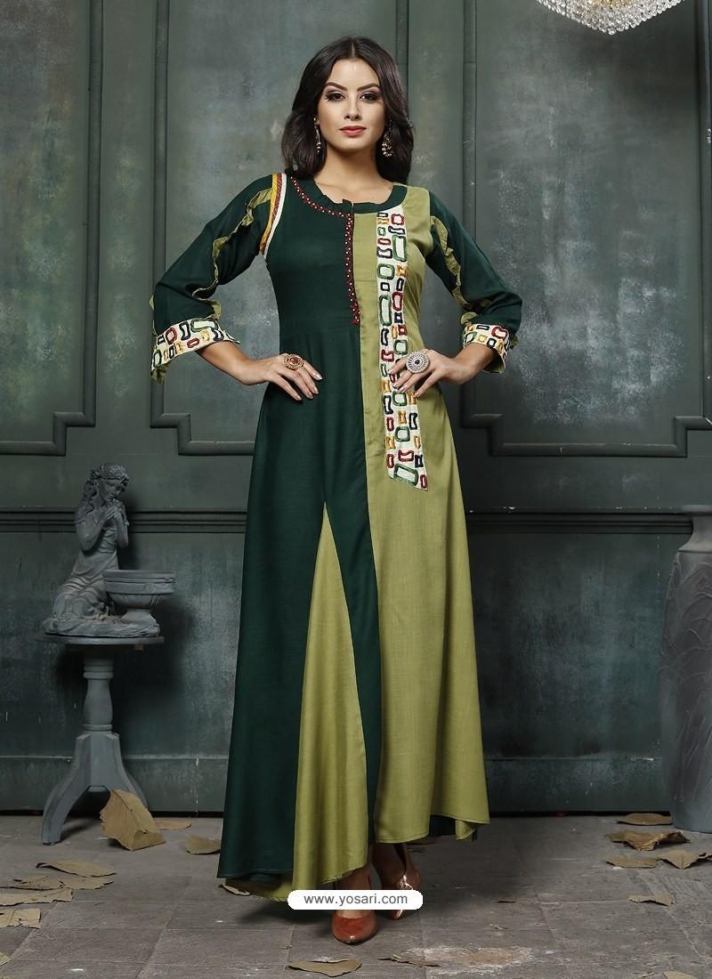 Dark Green Designer Embroidered Party Wear Heavy Fancy Rayon Kurti