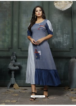 Pigeon Designer Embroidered Party Wear Heavy Fancy Rayon Kurti