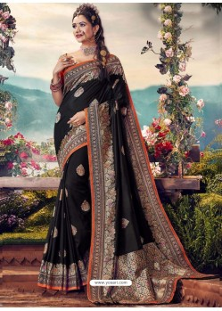 Black Designer Party Wear Banarasi Fancy Silk Sari