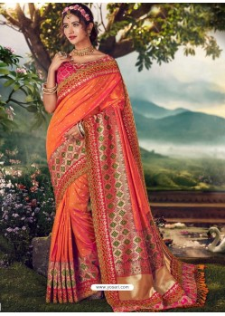 Orange Designer Party Wear Banarasi Fancy Silk Sari