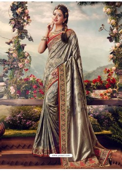 Grey Designer Party Wear Banarasi Fancy Silk Sari