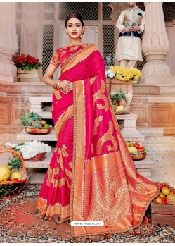 Rani Designer Party Wear Banarasi Fancy Silk Sari