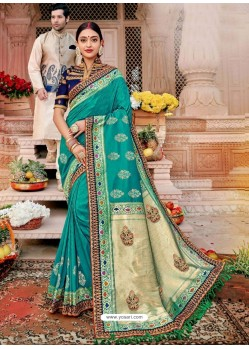 Aqua Mint Designer Party Wear Banarasi Fancy Silk Sari
