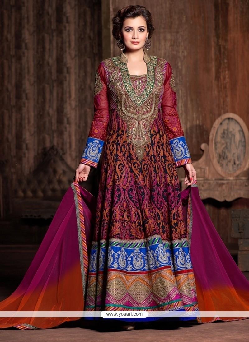 Diya Mirza Multi Colour Anarkali Salwar Kameez