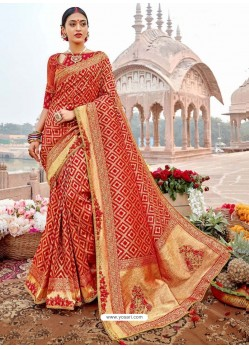 Red Designer Party Wear Banarasi Fancy Silk Sari