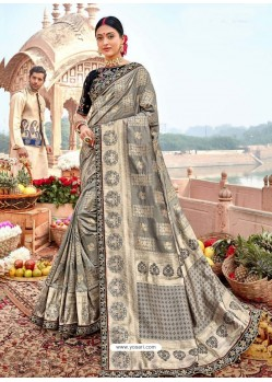 Silver Designer Party Wear Banarasi Fancy Silk Sari