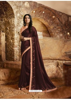 Maroon Gorgeous Designer Party Wear Fancy Fabric Sari