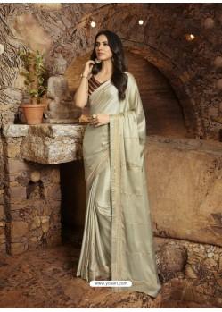 Off White Gorgeous Designer Party Wear Fancy Fabric Sari