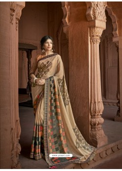 Beige Designer Party Wear Printed Brasso Silk Sari