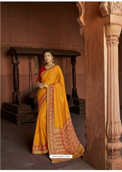 Yellow Designer Party Wear Printed Brasso Silk Sari