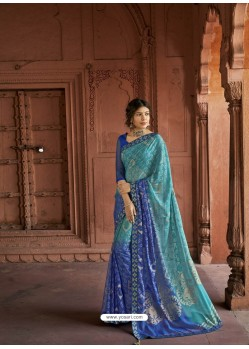 Blue Designer Party Wear Printed Brasso Silk Sari