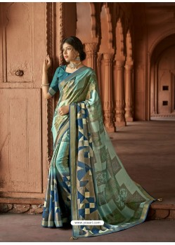 Multi Colour Designer Party Wear Printed Brasso Silk Sari