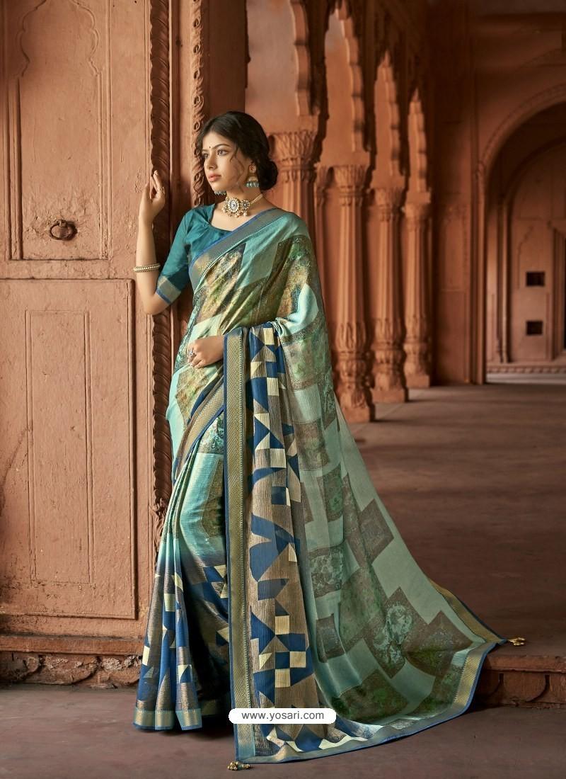 Multi Colour Designer Party Wear Printed Brasso Silk Sari