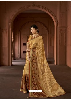 Cream Designer Party Wear Printed Brasso Silk Sari