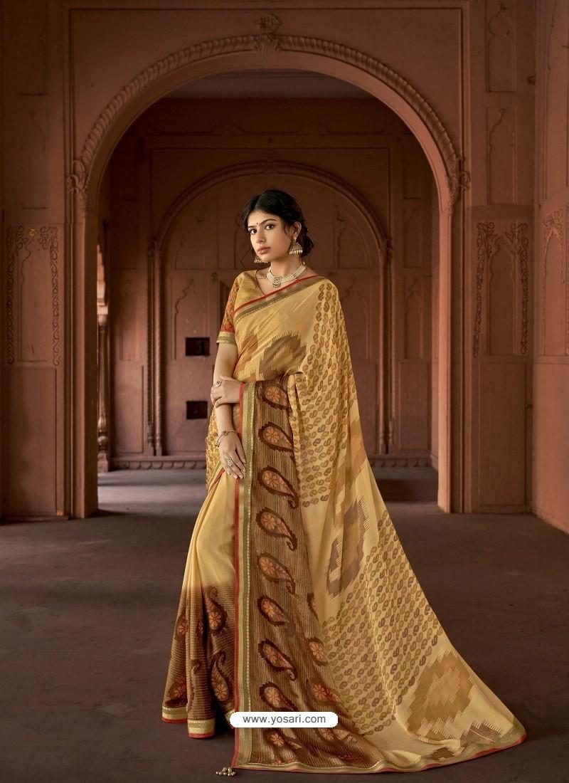 Cream Designer Party Wear Printed Brasso Silk Sari