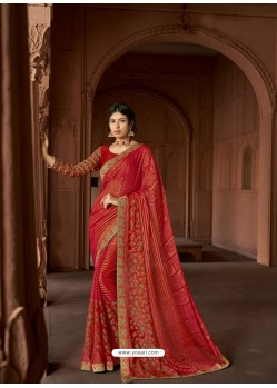 Red Designer Party Wear Printed Brasso Silk Sari