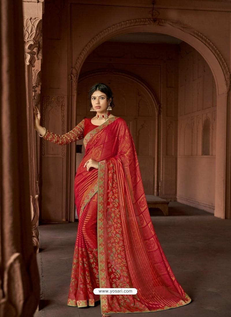 Red Designer Party Wear Printed Brasso Silk Sari
