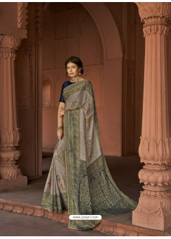 Grey Designer Party Wear Printed Brasso Silk Sari