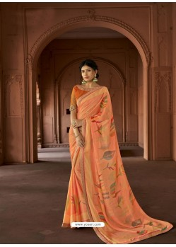 Light Orange Designer Party Wear Printed Brasso Silk Sari