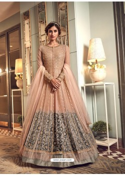 Light Orange Latest Heavy Embroidered Designer Wedding Anarkali Suit With Jacket