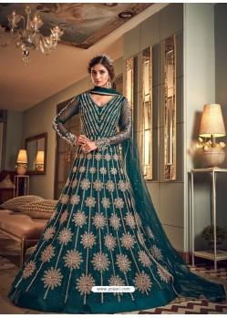 Teal Latest Heavy Embroidered Designer Wedding Anarkali Suit