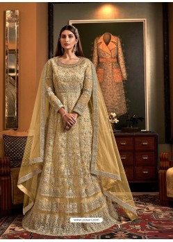 Khaki Latest Heavy Embroidered Designer Wedding Anarkali Suit