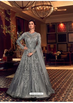 Grey Latest Heavy Embroidered Designer Wedding Anarkali Suit