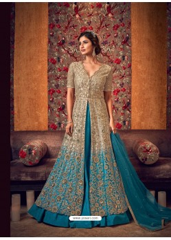 Blue Latest Heavy Embroidered Designer Wedding Anarkali Suit