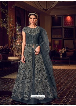Dark Grey Latest Heavy Embroidered Designer Wedding Anarkali Suit