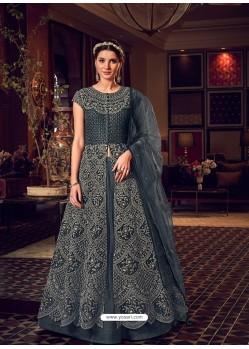 Dark Grey Latest Heavy Embroidered Designer Wedding Anarkali Suit