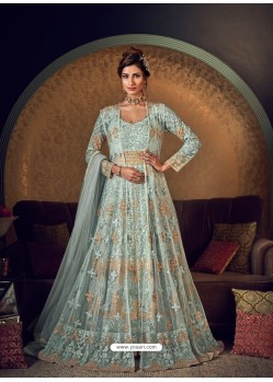 Aqua Grey Latest Heavy Embroidered Designer Wedding Anarkali Suit With Jacket