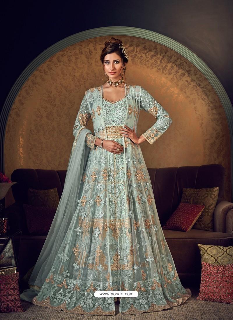 Aqua Grey Latest Heavy Embroidered Designer Wedding Anarkali Suit With Jacket