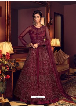 Maroon Latest Heavy Embroidered Designer Wedding Anarkali Suit