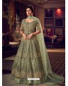 Olive Green Latest Heavy Embroidered Designer Wedding Anarkali Suit