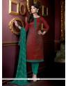 Elegant Lace Work Maroon Jacquard Churidar Salwar Suit