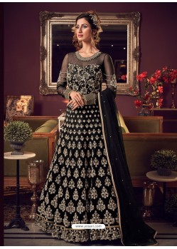 Black Latest Heavy Embroidered Designer Wedding Anarkali Suit
