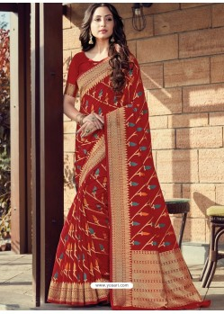 Maroon Designer Party Wear Cotton Handloom Sari