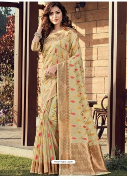Cream Designer Party Wear Cotton Handloom Sari