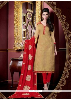 Sensible Jacquard Cream Churidar Salwar Suit