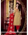 Sensible Jacquard Cream Churidar Salwar Suit