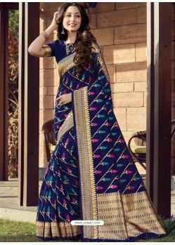 Dark Blue Designer Party Wear Cotton Handloom Sari