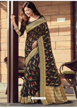 Black Designer Party Wear Cotton Handloom Sari